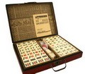 Collectible Chinese Antique Style Mahjong Game Set W. Leather Case GAM020