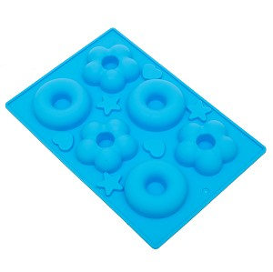 THY COLLECTIBLES Soft Silicone Ice Cube Tray Ice Maker Mold Donuts Mold Cake Mold Chocolate Mold (Blue)