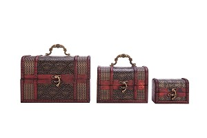 Vintage Style Wooden Embossed Flower Pattern Jewelry Treasure Box Storage Organizer Trinket Keepsake Chest Pack of 3