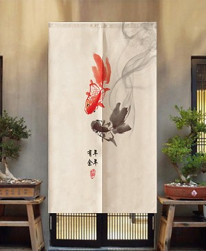 "Japanese Noren Doorway Curtain/Tapestry for Home or Restaurant - 33.5"" x 59"" (Koi Painting)"