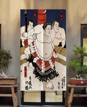 "Japanese Noren Doorway Curtain/Tapestry for Home or Restaurant - 33.5"" x 59"" (Three Sumo Wrestlers)"