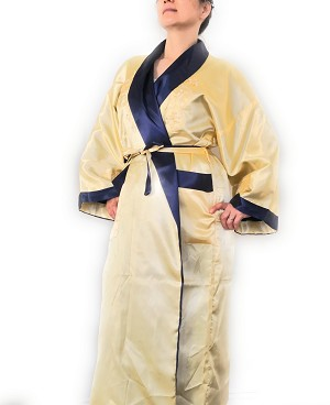 THY COLLECTIBLES Unisex Reversible Silk Satin Robe Kimono Relaxation Bathrobe Dragon Embroidered Night Gown (Gold and Navy, Asian XL = US L)