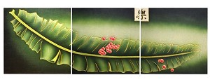 Modern Oriental Design 3 Panels Woodcarving Wall Plaques