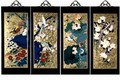 Set Of 4 Oriental Lacquered Painting Wall Art Plaques (Four Seasons) SM