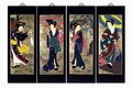 Set Of 4 Oriental Lacquered Painting Wall Art Plaques (Japanese Geishaes) LG