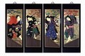 Set Of 4 Oriental Lacquered Painting Wall Art Plaques (Japanese Samurai) LG