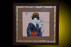 Wall Picture Frame w/ Oriental Japanese GEISHA Doll