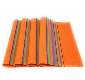 "Heat Insulation Stain-resistant Woven Vinyl Placemats 18"" x 12"" PVC Table Place mats Non-slip Table Decor Mats for Kitchen Dining Room Set of 4, Multi-colored"