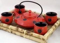 Contemporary Art Decor Porcelain tea set 5 pcs In Wooden Gift Box