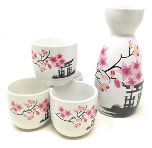 TJ Global 5-Piece Sake Set, Durable Ceramic Japanese Sake Set with 1 Carafe/Decanter/Tokkuri Bottle and 4 Ochoko cups for Hot or Cold Sake at Home or Restaurant - Temple and Flowers