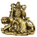 Brass Color General Guan Riding On Tiger