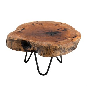 TJ Global Natural Edge Tree Trunk Wooden Stand with Hairpin Legs for Displaying Cakes, Plants, Candles, Decor (L9.5 x W8 x H5.5)