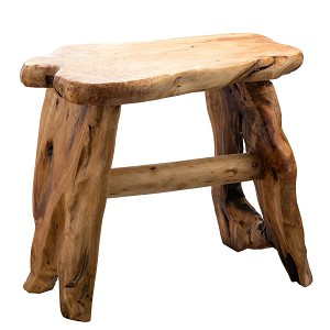 TJ Global Natural Edge Cedar Wood Tree Stump Indoor/Outdoor Stool, Garden Bench, Night Stand, End Table, Plant Stand - L20 x W11 x H17