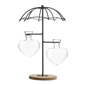 TJ Global Umbrella Double Glass Heart Vase Planter Holder, Plant Terrarium, Propagation Station, Metal Stand for Hydroponics Plants Home Garden Wedding Decoration Outdoor Planter Ideas Modern Creative