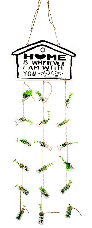 TJ Global Home Wall or Ceiling Hanging Sign Decoration with Small Artificial Plants in Small Vials for Home, Garden, Porch, Home is Wherever I am with You Quote