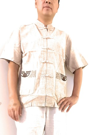 TJ Global Mens Traditional Chinese Linen Cotton Short Sleeves Tai Chi Kung Fu Mandarin Collar Frog-Button up Shirt - Oatmeal (Large)