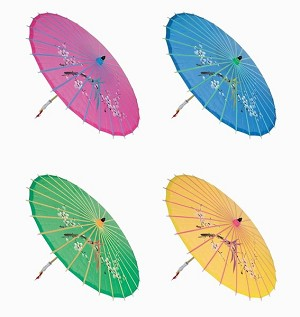 "Assortment or six {6} 30"" Large Asian Silk Umbrella / Parasol"