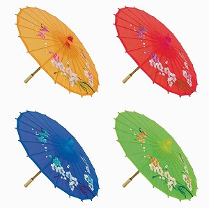 "Assortment or six (6) 21"" Small Asian Silk Umbrella / Parasol"