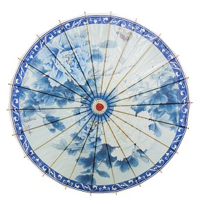 "Rainproof Handmade Chinese Oiled Paper Umbrella Parasol 33"" Blue & White Flowers"