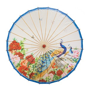 "Rainproof Handmade Chinese Oiled Paper Umbrella Parasol 33"" Peacock & Peony"