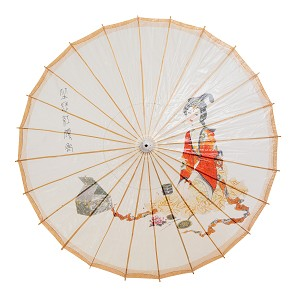 "Rainproof Handmade Chinese Oiled Paper Umbrella Parasol 33"" Chinese Beauty"