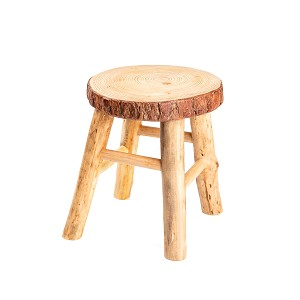 Rustic Tree Trunk Slices Wood Four Legged Sitting Stool, Plant Stand, Vase Stand, Display Stand, Perfect for Home Decor in Any Room, Furniture