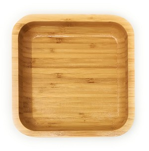 "Handcraft Natural Bamboo Salad Serving Bowl Fruit Plate Dessert Platter Lunch Tray Square (Med 7"")"