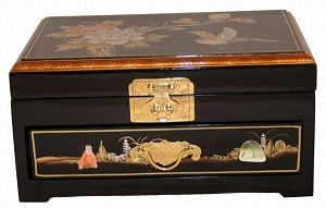 Elegant Oriental Black Lacquered Jewelry Box W. One Drawer