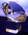 Large Crystal Glass Art Diamond w. Stand In Gift Box