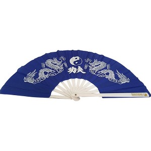 "13"" Dragon YinYang Design Kong Fu Fan Blue"