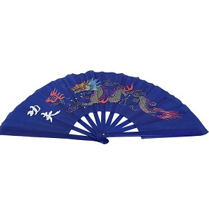 "13"" Dragon Design Kong Fu Fan Blue"