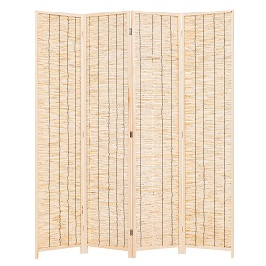 THY COLLECTIBLES Decorative Freestanding Wood Frame Reed Woven 4 Panels Hinged Semi Privacy Panel Screen Portable Folding Room Divider (Natural Color)