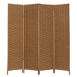 THY COLLECTIBLES Decorative Freestanding Woven Bamboo 4 Panels Hinged Privacy Panel Screen Portable Folding Room Divider (Coffeebrown)