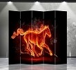 Double Sided Canvas Screen Room Divider - Fire Horse