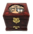 Elegant Oriental Hand Painting Cork Sculpture Lacquered Jewelry Box Storage Organizer Trinket Keepsake Box with Drawer (L5 x W5 x H5)