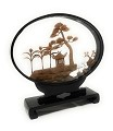 Beautiful Hand Carved Oriental Traditional Chinese Cork Sculpture Carving with Cranes, Trees, and Pagoda in Glass Display Oval Frame (L8.25 x W2.25 x H8)