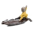 TJ Global Ceramic Monk in Yellow Standing on Leaf Incense Burner for Incense Stick and Cone Holder, Ash Catcher Tray