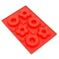 THY COLLECTIBLES Soft Silicone Ice Cube Tray Ice Maker Mold Donuts Mold Cake Mold Chocolate Mold (Red)