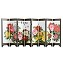 TJ Global 8-Panel Traditional Chinese Art for Home Decoration - Decorative Lacquerware, Home Decor, Lacquer, Oriental, Mini Divider (Peonies)