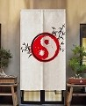 "Japanese Noren Doorway Curtain/Tapestry for Home or Restaurant - 33.5"" x 59"" (Red Yin Yang)"