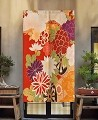 "Japanese Noren Doorway Curtain/Tapestry for Home or Restaurant - 33.5"" x 59"" (Flowers)"