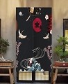 "Japanese Noren Doorway Curtain/Tapestry for Home or Restaurant - 33.5"" x 59"" (Cranes and Flowers)"