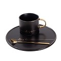 Porcelain Coffee Mug, Tea Cup with Saucer and Golden Spoon with Gold Scripted Love and Trim for Espresso, Hot Chocolate, Cappuccino, and Latte, 8 Oz. (Black)