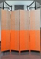 THY COLLECTIBLES Decorative Freestanding Woven Bamboo 4 Panels Hinged Privacy Panel Screen Portable Folding Room Divider (Grey & Orange)