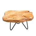 TJ Global Natural Edge Wooden Stand with Hairpin Legs for Displaying Cakes, Plants, Candles, Decor (L10 x W9 x H5)