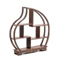 TJ Global 7 Compartment Peach Shape Traditional Chinese Rosewood Peach Shape Wooden Display Shelf/Organizer for Tea Pots, Crafts, Figurines, Memorabilia, and Miniatures - 11.5