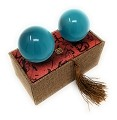 Artificial Tiger Eye Crystal Gemstone Quartz Chinese Health Stress Exercise Baoding Balls (Lake Blue)
