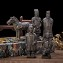 Set Of 5 Antique Reproduction Qin Dynasty Terra cotta Warrior Collectible Statuette Miniature Black