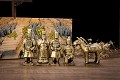 Set Of 5 Antique Reproduction Qin Dynasty Terra cotta Warrior Collectible Statuette Miniature Golden