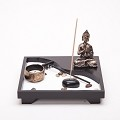 Asian Japanese Feng Shui Sand Zen Garden Buddha Incense & Candle HY202B